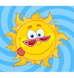 Sun Mascot Cartoon Character With Shades vector image
