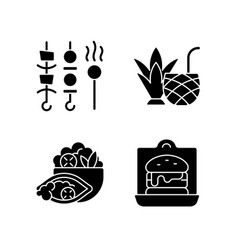 takeaway and delivery option black glyph icons vector image