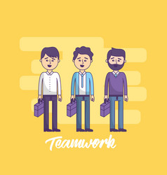 teamwork businessmen with briefcase in the hand vector image