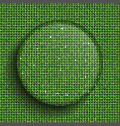 the circle glass banner green sequins background vector image