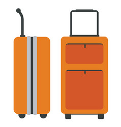 Travel bags with side and front view flat color vector