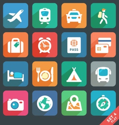 Traveling and transport Flat icons vector image