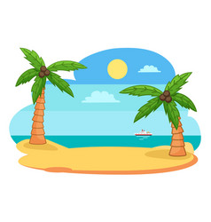 tropical exotic view with island shore or beach vector image