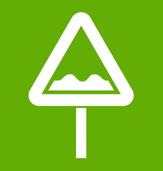 uneven triangular road sign icon green vector image