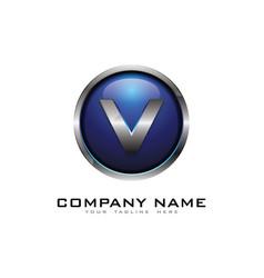 v 3d circle chrome letter logo icon design vector image