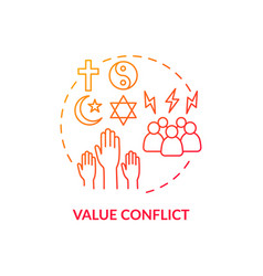 Value conflict red gradient concept icon vector