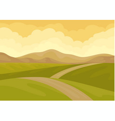 view on long ground road green meadows and brown vector image