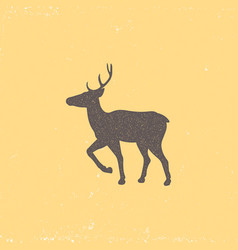 vintage brown deer emblem on a yellow background vector image