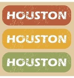 Vintage Houston stamp set vector image