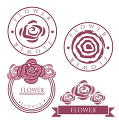 Vintage labels with rose flower vector image