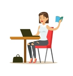 Woman Studying Copying From The Book To Lap Top vector