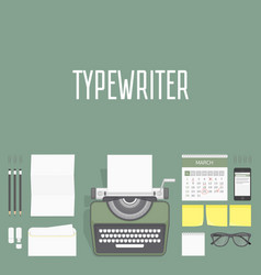 workplace typewriter top view vector image
