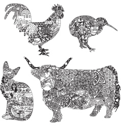 animals in ethnic ornaments vector image vector image