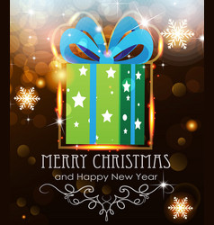green christmas gift on holiday background vector image