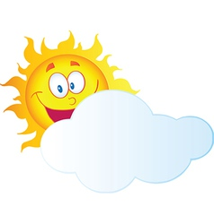 Happy Sun Hiding Behind Cloud vector image vector image
