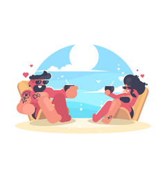 loving couple resting on beach vector image vector image