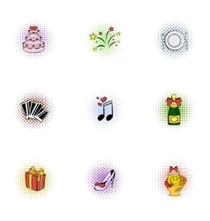 Marriage ceremony icons set pop-art style vector image