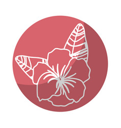 Sticker beautiful flower plants with petals and vector