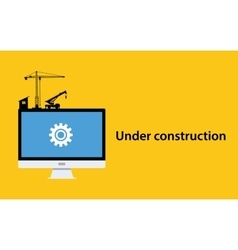 under construction concept with pc computer vector image vector image
