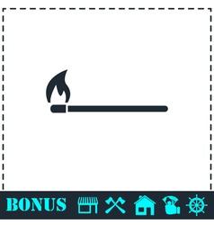 Burning match icon flat vector image