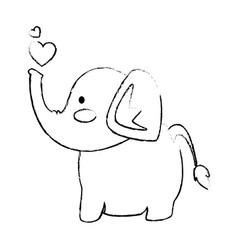 elephant affectionate cartoon vector image vector image