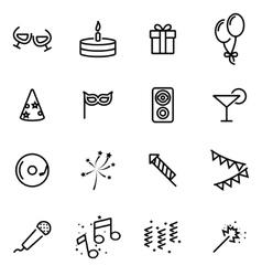 Line birthday icon set vector