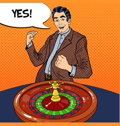 man behind roulette table celebrating big win vector image vector image