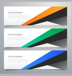 Modern geometric banners set of three vector