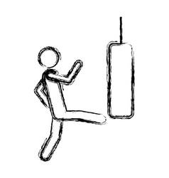 Monochrome sketch of man kicking a punching bag vector