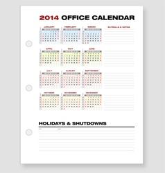2014 Clean Corporate Office Calendar vector image vector image