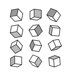3d cube in pop art style in black and white vector image