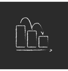 Bar chart down icon drawn in chalk vector image vector image