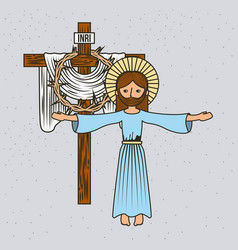 Cartoon jesus christ ascension cross and crown vector