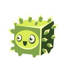 Cute fantastic green plant character square shape vector