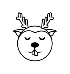 face reindeer animal outline vector image