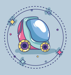 futuristic car with stars design background vector image