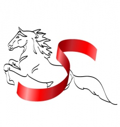 horse and ribbon vector image vector image