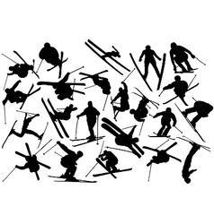 skiing silhouettes vector image