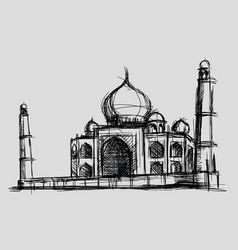 taj mahal sketch drawing monument vector image