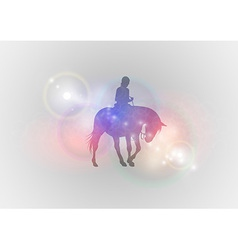 background abstract with horse riding vector image