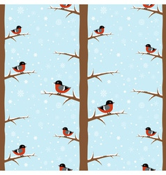 Cute winter bullfinch bird seamless pattern vector image vector image