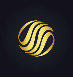 Gold abstract circle eco logo vector