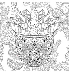 Zentangle Succulent on cactus seamless pattern vector image