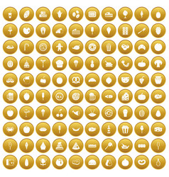100 tasty food icons set gold vector