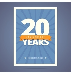 20 year anniversary card poster template vector