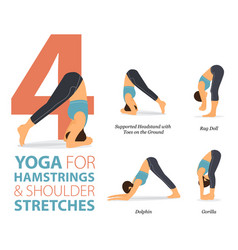 4 yoga poses for hamstrings and shoulder vector image