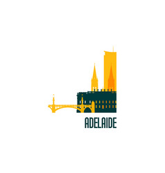 adelaide city emblem colorful buildings vector image