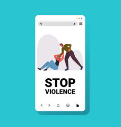 angry man punching and hitting woman stop domestic vector image