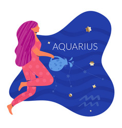 Aquarius woman zodiac vector