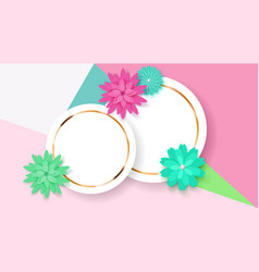Background with circle frames and flowers vector